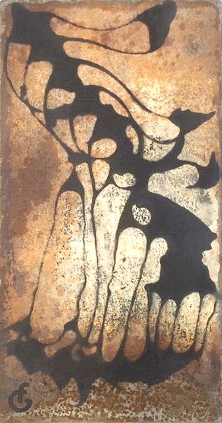 Vertèbres 1 – 22,5 x 12 cm, marouflage sur métal ou sur plâtre, techniques mixtes – 2019