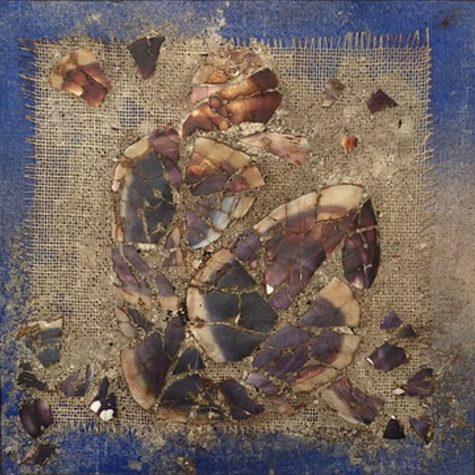 Blue grid, Artefact 20 x 20 cm,  recherches de matière, techniques mixtes, monté sur contreplaqué serti au plomb – 2002