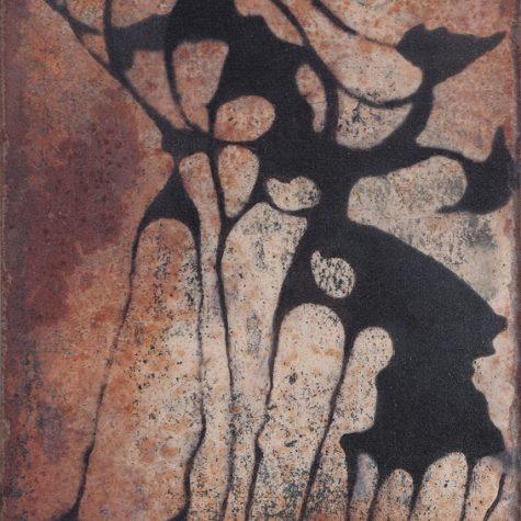 Vertèbres 3 – 22,5 x 12 cm, marouflage sur métal ou sur plâtre, techniques mixtes – 2019